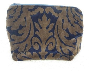 Makeup Bag Pouch Blue and Gold Velvet Zippered