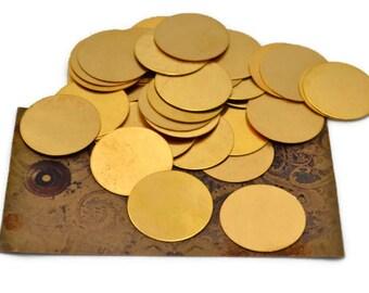 12 Round Blanks - 1 Inch - Raw Brass Stamping Blanks - 24 Gauge