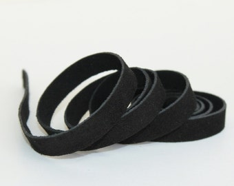 7-10 mm Black  Suede Genuine Leather Strap, 1 Yard