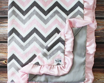 Chevron Minky, Satin Blanket, Pink Chevron Minky, Chevron blanket, Grey Chevron, minky blanket, Ruffle Blanket, Minky with Ruffle