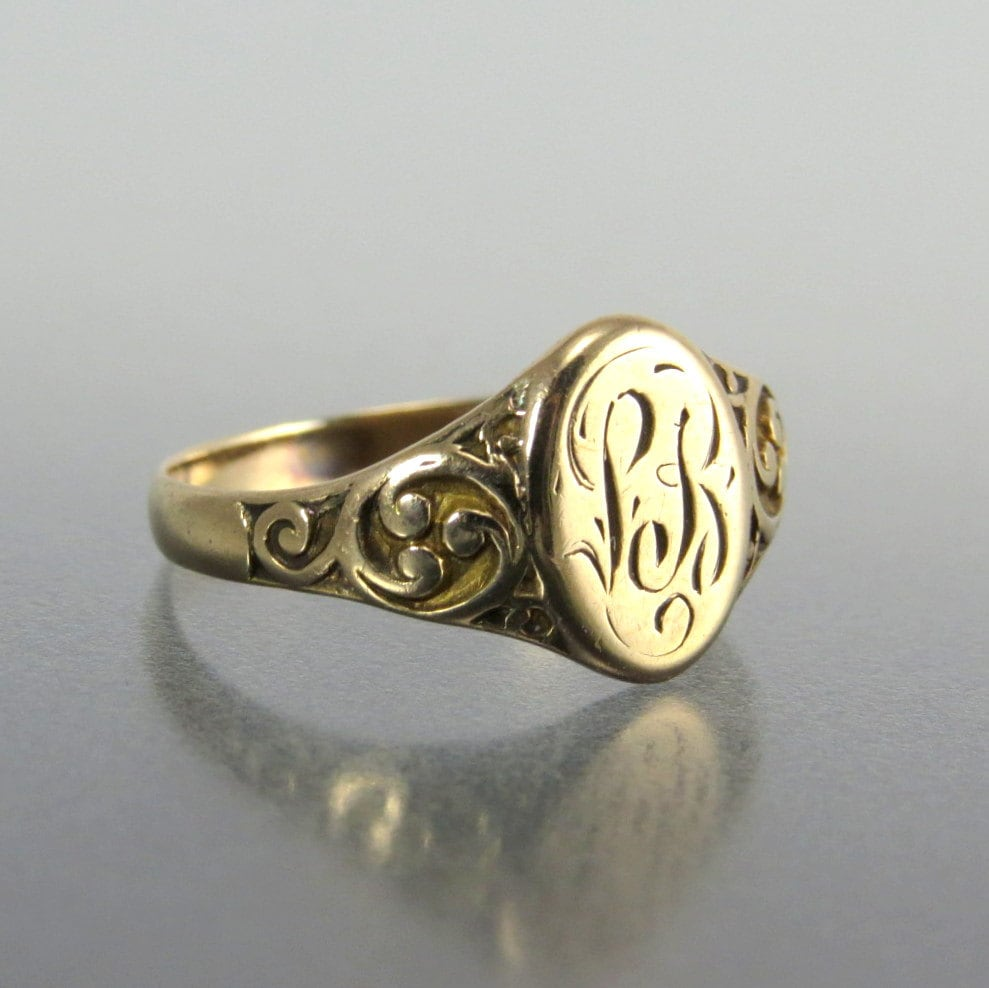 antique 14k gold signet ring lb initials by