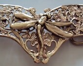 Solid Bronze Butterfly with a Dragonfly Centrepiece Belt Buckle complete with Leather Belt