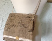 cross-body burlap purse with French Script