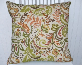 Green, Peach, Pillow Cover 18x18 or 20x20 or 22x22 Floral Throw Pillow-Accent Pillow Decorative Pillow