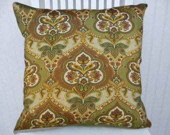 Green, Brown, Gold Decorative Pillow Cover--18x18 or 20x20 or 22x22--Decorative Throw Pillow-- Accent Pillows