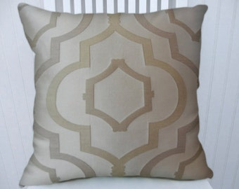 Off White Geometric Decorative Pillow Cover--18x18 or 20x20 or 22x22 Woven Throw Pillow-- Accent Pillow