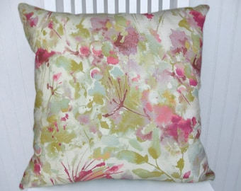 Pink Green Decorative Pillow Cover--Floral Watercolor 18x18 or 20x20 or 22x22 Pillow, Lumbar Pillow