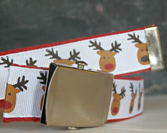 Reindeer Christmas Belt, Military Nickel Belt Buckle, Red-Nosed, Ribbon and Webbing Belt, Christmas Gift, Winter Clothing