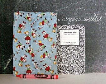 Retro Crayon Wallet, Children and Cherries Crayon Toy, Valentine's or Easter Gift, Quiet Time Toddler Activity, Crayon Roll, MADE-TO-ORDER