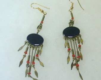 Vintage Tribal Silver Wire and Hematite Earrings - 1980's