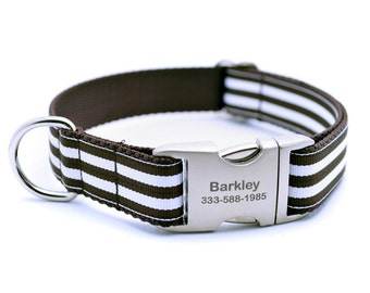 Monarch Stripe Laser Engraved Buckle Personalized Dog Collar - Chocolate
