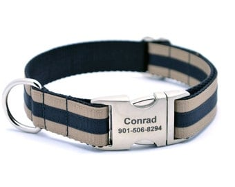 Layered Stripe Laser Engraved Personalized Dog Collar - Khaki/Black
