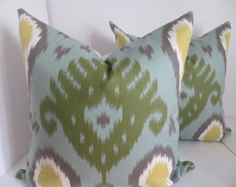 Yellow Green Ikat Pillow, Ikat pillow, Yellow GrayPillow, Green Pillow, Gray Pillow- White Pillow Covers