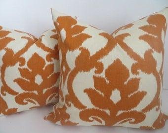 Pillow Cover-20x20- Terra Cotta Pillow - Tangerine Pillow- Ikat Pillow -Cream Pillow - Accent Home- Accent Pillow- Orange Pillow - Pillow