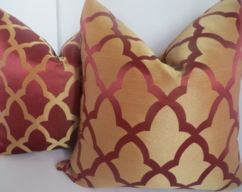 Decorative Pillows - Holidays Pillows - Christmas Pillows - Pillow Covers - Windsor Red Pillow - Garnet Red Pillow - Sateen Gold Pillow
