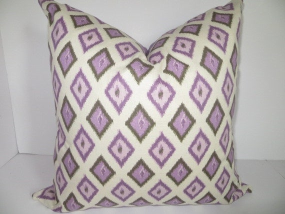 Decorative Pillow- 20x20 Purple Pillow-  Lavendar pillow, Cream Pillow, Geometric Pillow
