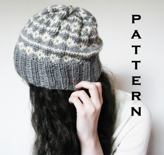 Items similar to PDF PATTERN - The Alice Beanie - Fair Isle Knitted Slouch Be...