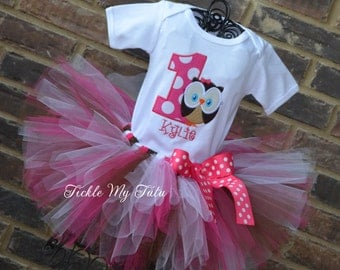 Owl Birthday Outfit-Whoo's One Owl Tutu Oufit-Owl Themed Birthday Outfit-First Birthday Owl Tutu Set-Owl Birthday Party Outfit