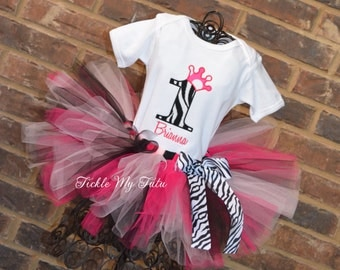 Hot Pink and Zebra Print Birthday Number Crown Tutu Outfit-Zebra Princess Birthday Tutu Set-Hot Pink and Zebra Print Birthday Outfit