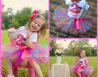 "Tea Party Birthday Tutu Outfit-Tea Party Tutu-Tea Party Birthday Tutu Set-Rainbow Tea Party Outfit ""Bow NOT Included*"
