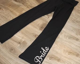 BRIDE yoga pant - bridesmaid yoga pant, maid of honor yoga pant - GLITTER on black