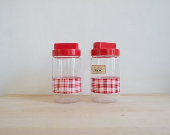Vintage Jars // 1970 French Gingham // Red Storage Canisters // Picnic Spring Cooking // Retro Kitchen Decor