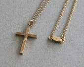 Vintage 1940s Gold Cross Pendant Necklace with Unusual Wood and Ribbon Engraving