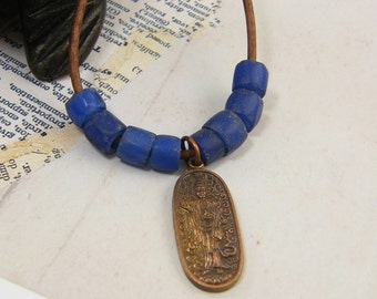 Tribal Amulet Necklace, Copper Blue Bead Necklace, Blue African Trade Bead Necklace, Asian Quan Yin Tribal Leather Jewelry |NK1-8