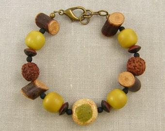 Brown Wood Bead Bracelet, Brown Green Bracelet, Olive Green Bracelet, Green Chunky Bead Bracelet Rust Nut Bead Bracelet |BC2-11