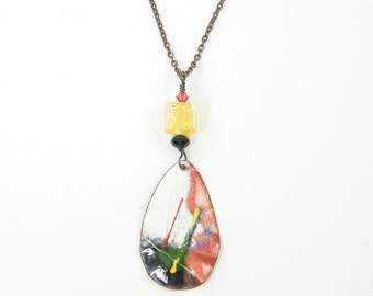 Enamel Pendant Necklace, Copper Enamel Necklace, Abstract Graffiti Red White Gold Colorful Metal and Bead Necklace