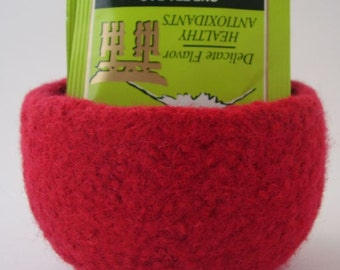 felted wool bowl container desktop storage Red