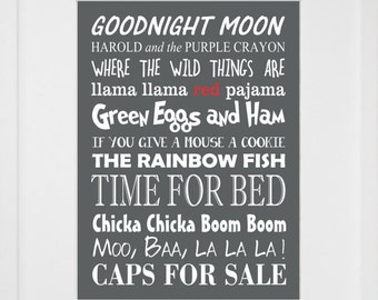 """Children's Book Titles Print- 8"""" by 10"""""""
