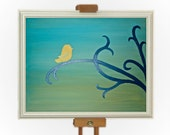 Cute Bird Painting in Blue, Green, Navy, Yellow - Original Art on Canvas