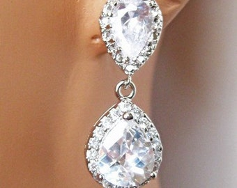 SET OF 7 - Cubic Zirconia Earrings, Crystal Earrings, Rhinestone Earrings, Wedding Earrings