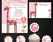 Pink Giraffe Baby Shower Collection Digital Files
