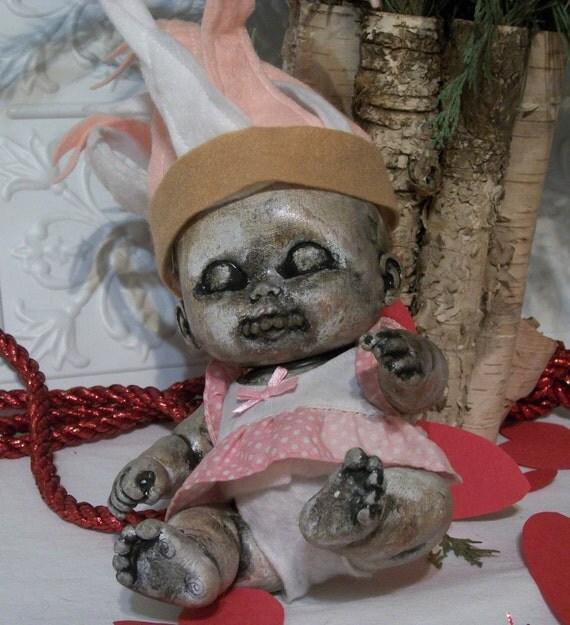 Creepy Horror Prop Doll Altered Art Dead Cupid Valentine Baby