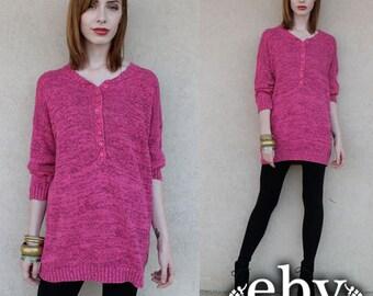 Vintage Oversized Sweater Vintage Sweater Vintage Jumper Pink Sweater Oversized Knit Vintage 80s Magenta Sweater Jumper S M L