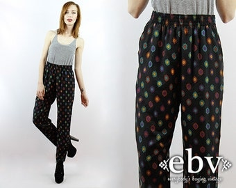 Vintage 90s High Waisted Southwestern Print Pants High Waisted Pants High Waist Pants Tapered Leg Pants
