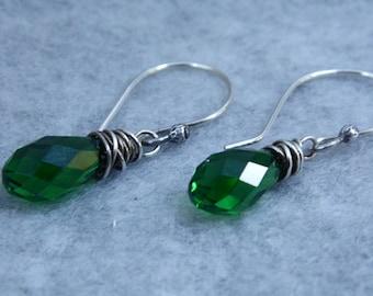 Wire Wrapped Moss green Swarovski Briolette Earrings, Wire Wrapped Briolette Earrings, Dangle Earrings, Heart Earrings
