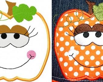 Halloween embroidery Sweet pumpkin applique designs instant download