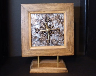 Stained Glass and Wood Table Clock