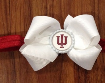 Boutique bottlecap bow on satin elastic headband