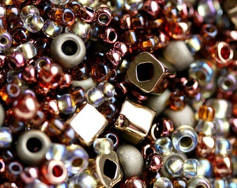 Bronze Gold seed Beads Mix, TOHO Seeds - N 3205, rocailles, glass beads - 10g - S258