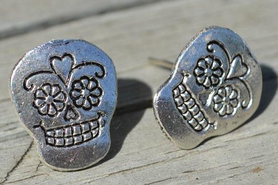 Silver Sugar Skull Post Earrings - Day of the Dead Hipster Rockabilly Tattoo Halloween Jewelry