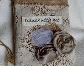 "Reserved for Sinclair525 Natural Burlap dollar dance bag  ""Dance with Me"" Country Rustic Wedding Bridal purse"