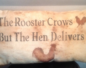 Rooster Prim Pillow. Shelf Setter. Country Home.Rooster Decor.Rooster Lover.Prim Accent Pillow.TeaStained Rooster Pillow. Housewarming Gift