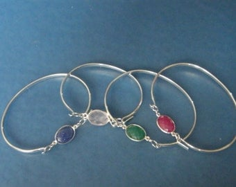 Gemstone Bangles! Sapphire, Emerald, Ruby! Birthstones, Bridal Gift, Birthday Gift, Anniversary Gift, Holiday Gift, For Her