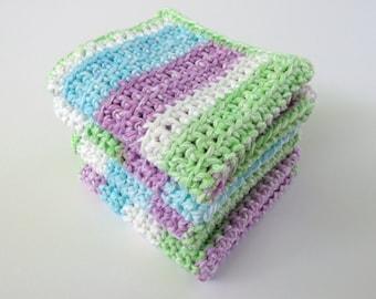 Crochet Multicolor Washcloth Set 4 Cotton Dishcloths