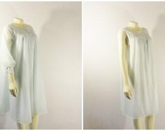 Vintage Nightgown & Peignoir 50s 60s Mad Men Vassarette Double Layer Chiffon Nightie and Robe Size Large