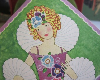 Gorgeous 1920's art deco unused bridge tally colorful graphics of pretty  girl with high collared dress and billowy cuffs